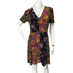 Zara Color Block Patchwork Floral Midi Dress